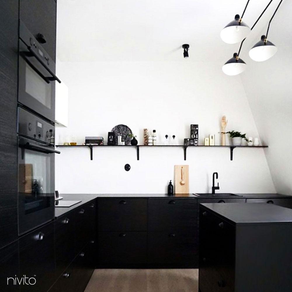 Black Kitchen Sink Mixer Tap - Nivito 13-RH-320