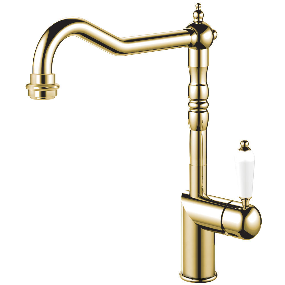 Brass/Gold Kitchen Tap - Nivito CL-160 White Porcelain Handle Color