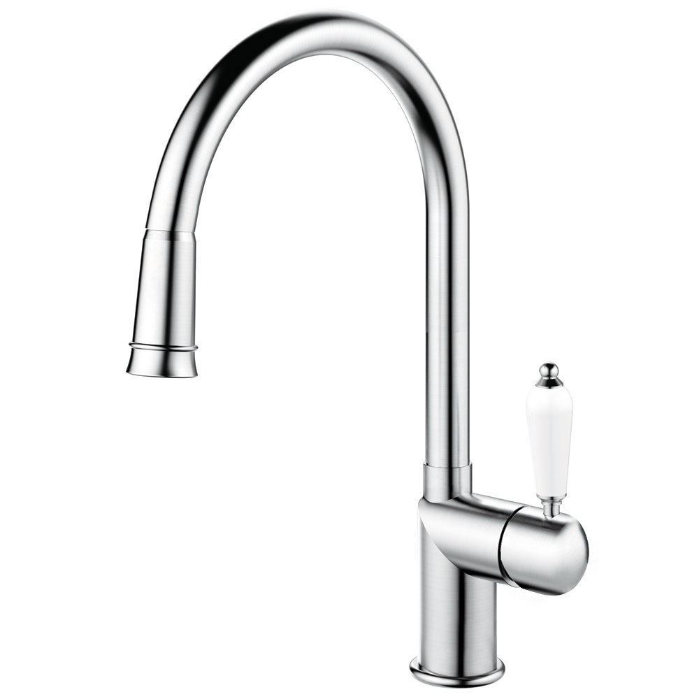 Stainless Steel Kitchen Tap Pullout hose - Nivito CL-200 White Porcelain Handle Color