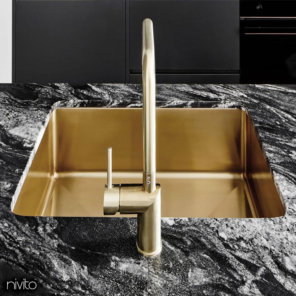 Brass/Gold Kitchen Basin - Nivito 1-CU-500-BB