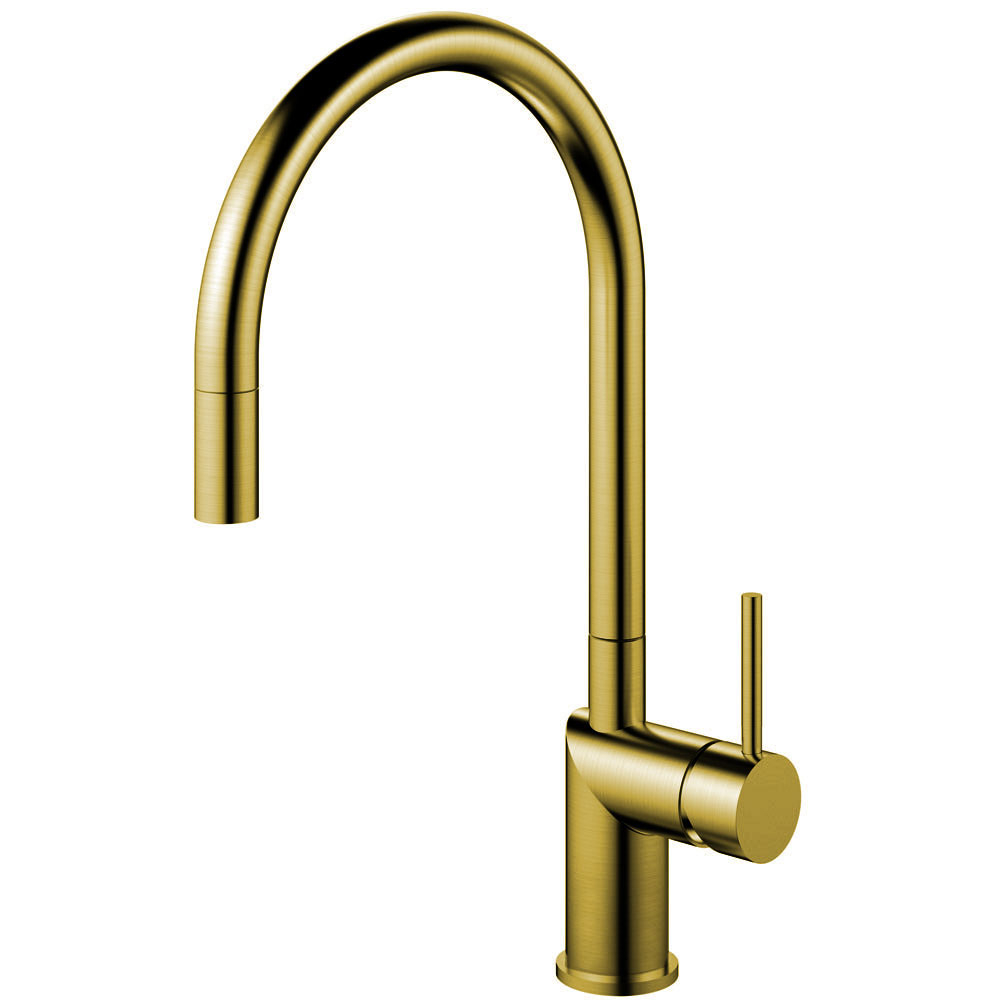 Brass/Gold Kitchen Sink Mixer Tap Pullout hose - Nivito RH-140-EX