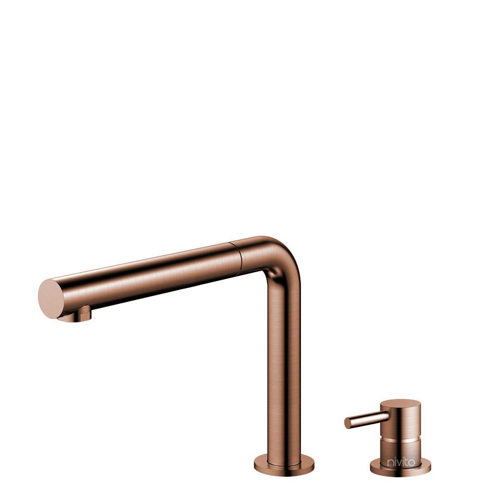 Copper Kitchen Sink Mixer Tap Pullout hose / Seperated Body/Pipe - Nivito RH-650-VI