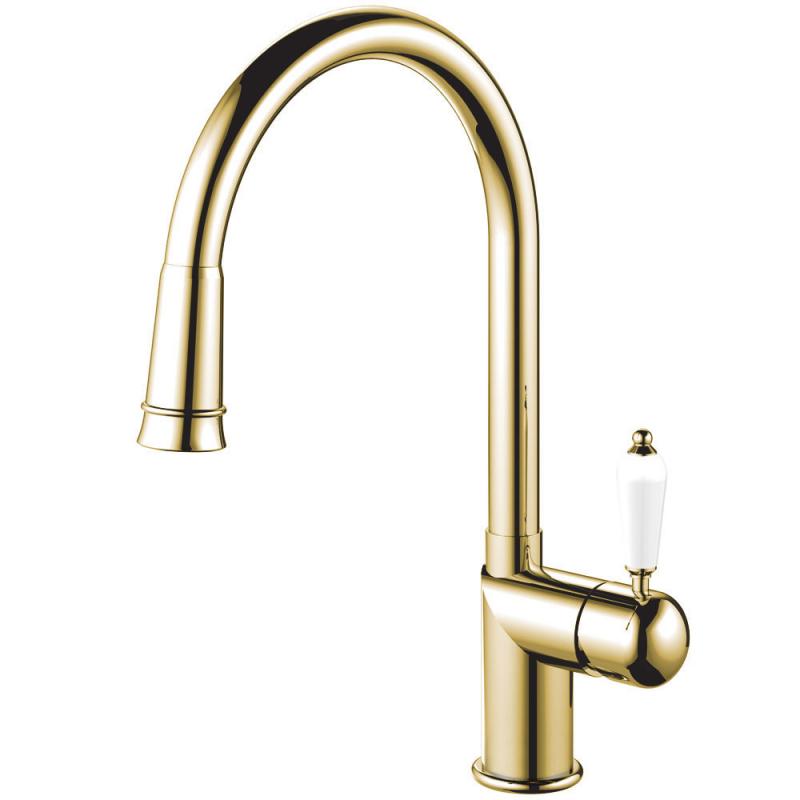 Brass/Gold Kitchen Mixer Tap Pullout hose - Nivito CL-260 White Porcelain Handle Color