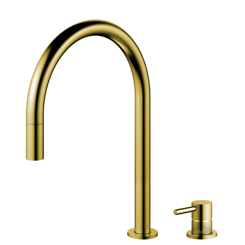 Brass/Gold Kitchen Mixer Tap Pullout hose / Seperated Body/Pipe - Nivito RH-140-VI