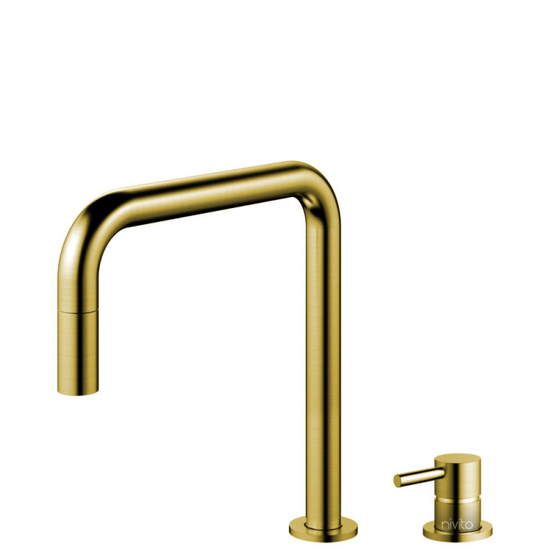 Brass/Gold Kitchen Mixer Tap Pullout hose / Seperated Body/Pipe - Nivito RH-340-VI