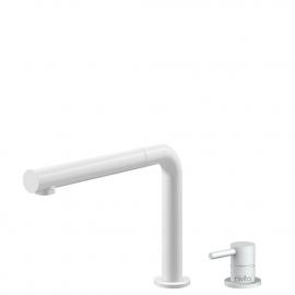 White Kitchen Mixer Tap Pullout hose / Seperated Body/Pipe - Nivito RH-630-VI
